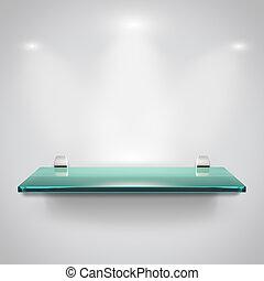 Glass shelves with spot light - Empty advertising glass...