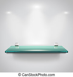 Glass shelves with spot light - Empty advertising glass...