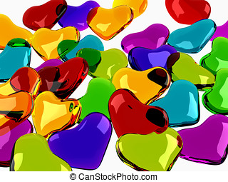 Glass shiny hearts