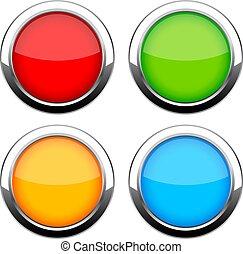 Glass shiny web buttons set