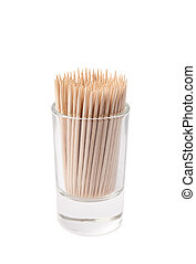 Glass shot filled with the toothpicks isolated - Glass shot...