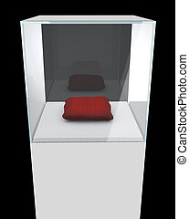 Glass showcase cube with red pillow isolated on black background.