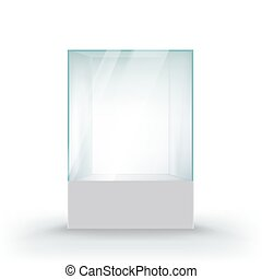 Glass showcase for the exhibition in the form of a cube.