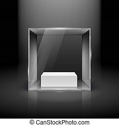Glass Showcase in Cube Form with Spot Light for Presentation...