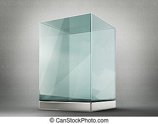 showcase - glass showcase isolated on a grey background. 3d ...