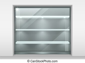 Glass showcase with shelves