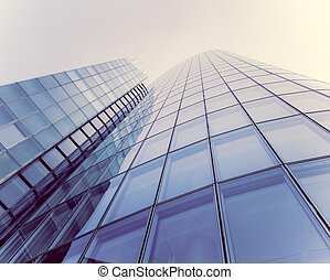 glass silhouettes on modern building