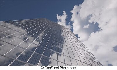 Glass skyscraper building clouds Blue sky