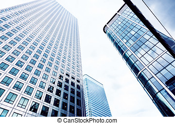 Glass Skyscrapers in the City of London, Blue toned