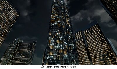 Glass Skyscrpaer Office Buildings with dark sky - glass...
