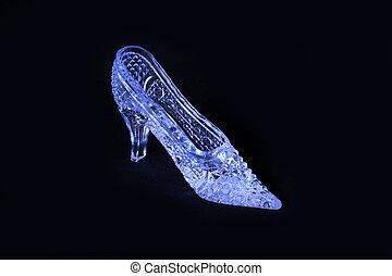 Glass slipper - Nice glass slipper standing on dark ...