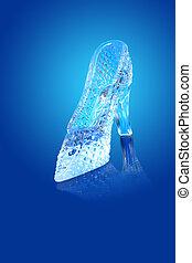 Glass Slipper - Nice glass slippir isolated on gradient blue...