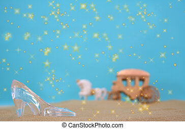 Glass Slipper on Beach With Carriage in Background