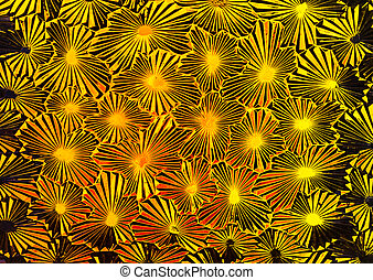 Abstract of pattern glass with very bright colors of orange and yellow through it.