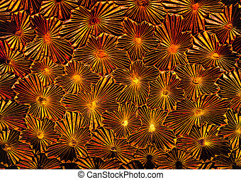 Abstract of pattern glass with rich look of red and yellow through it.