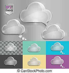Glass speech bubble cloud icons with soft shadow on gradient background . Vector illustration EPS 10 for web.