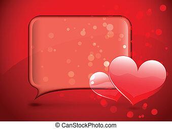 Glass speech bubble with hearts - Transparent glass speech...