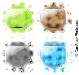 Glass Speech Bubbles Set