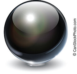 Black, glass sphere, vector illustration.