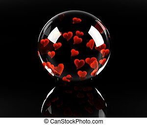 glass sphere full of hearts on the black background