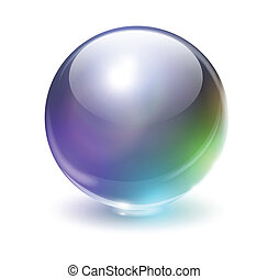 Glass sphere - Glass, crystal sphere with rainbow colors,...