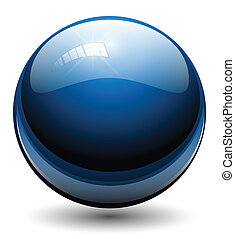 Glass sphere, ball blue, vector.