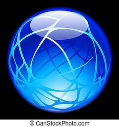 Glass Sphere isolated on black background for design