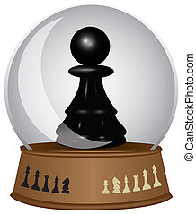 Black pawn in a glass bowl