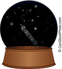 Glass sphere with a starry sky