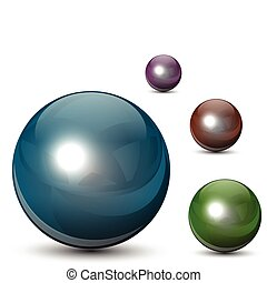 Glass spheres - 3D glass spheres,  balls set, vector.