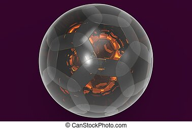 glass spherical ball 3D rendering