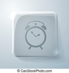 Glass square icon. alarm clock