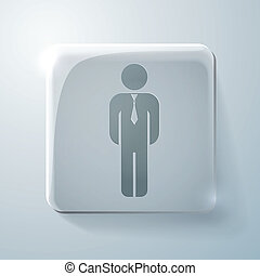 Glass square icon. business man in a tie