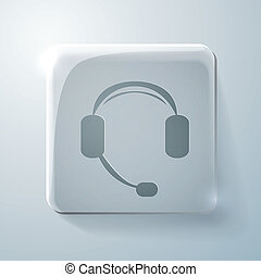 Glass square icon. customer support