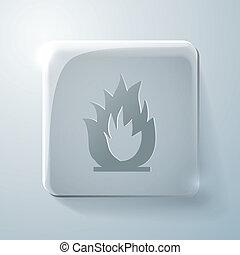 Glass square icon. fire sign