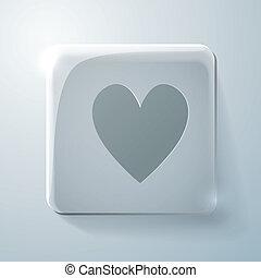 Glass square icon. heart