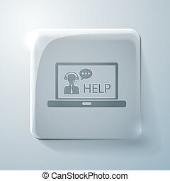 Glass square icon. laptop with customer support