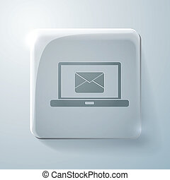 Glass square icon. laptop with letter envelope