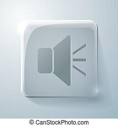 Glass square icon. loudspeaker