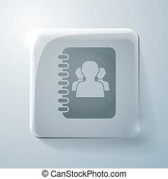 Glass square icon, phone address book