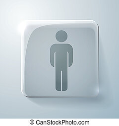 Glass square icon. silhouette of a man