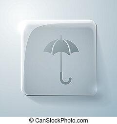 Glass square icon. umbrella