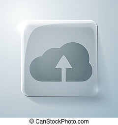 Glass square icon with highlights. cloud download
