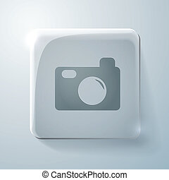 Glass square icon with highlights, photo camera