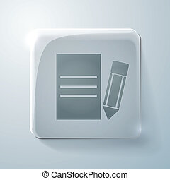 Glass square icon with highlights, sheet of paper
