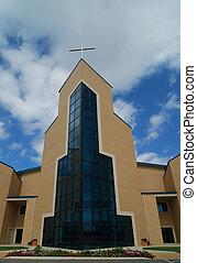 Glass steeple of an ultra modern church.
