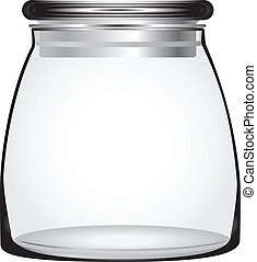 Tight sealing glass lid keeps items fresh. Vector.
