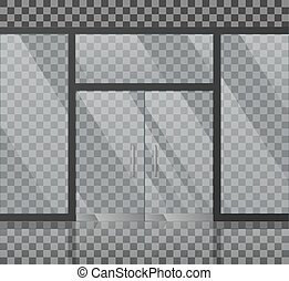 Glass store facade vector illustration