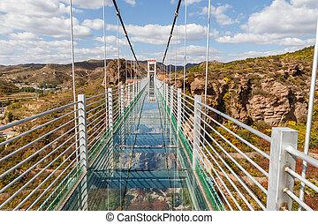 glass suspension bridge in the mountains