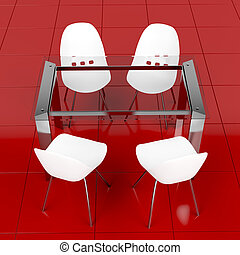 Glass table and white chairs